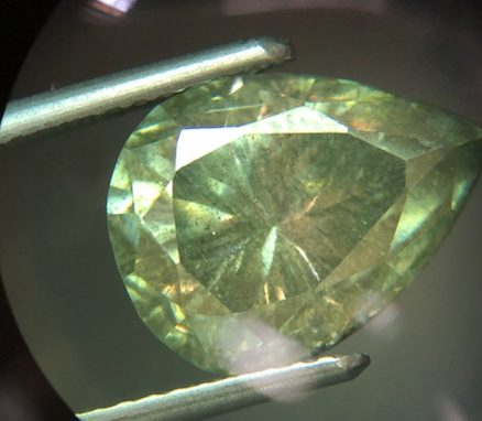 Moissanite is a popular diamond simulant. This lab-created stone easily fools industry veterans, but can be identified by trained gemologists.